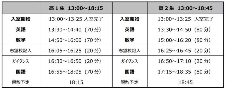 10月 高1・2 第3回 高校テストタイムテーブル.JPG